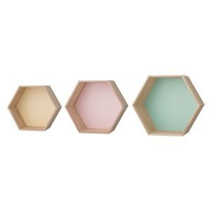 Bloomingville Hexagonal Hylly Mint / Lemon / Nude 3-Pakkaus