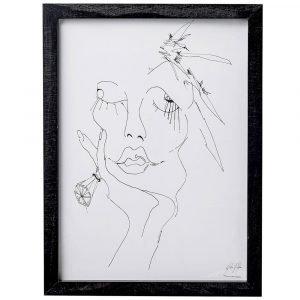 Bloomingville Sketched Woman Taulu Kehyksellä