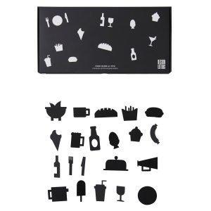 Design Letters Food Icons Ilmoitustaulu Musta 21-Osainen