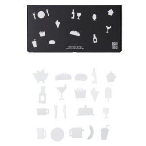 Design Letters Food Icons Ilmoitustaulu Valkoinen 21-Osainen