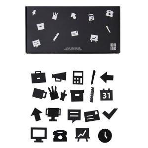Design Letters Office Icons Ilmoitustaulu Musta 20-Osainen