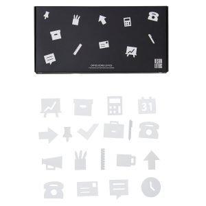 Design Letters Office Icons Ilmoitustaulu Valkoinen 20-Osainen
