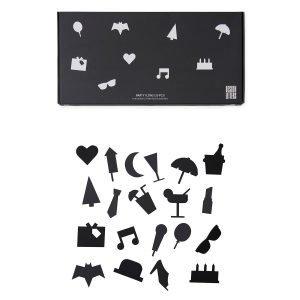 Design Letters Party Icons Ilmoitustaulu Musta 20-Osainen