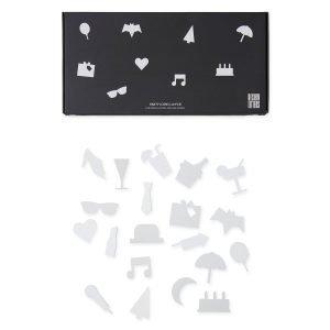 Design Letters Party Icons Ilmoitustaulu Valkoinen 20-Osainen