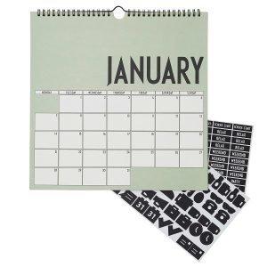 Design Letters Seinäkalenteri 2019 Vihreä