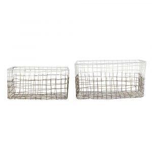House Doctor Mail Kori Metalli / Valkoinen 30x25 Cm 2-Pakkaus