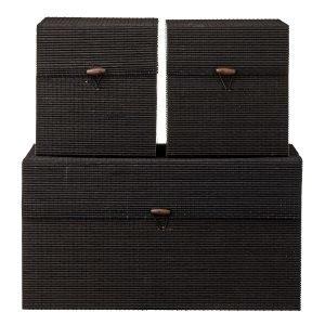 Lene Bjerre Roisin Säilytyslaatikko Musta Bamboo 3-Pakkaus