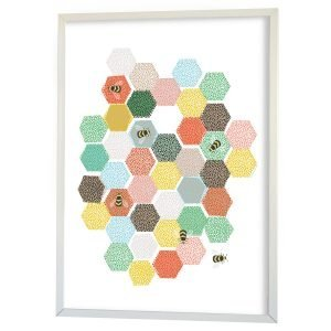 Littlephant Bee Hive Graphic Print Printti Valkoinen 50x70 Cm