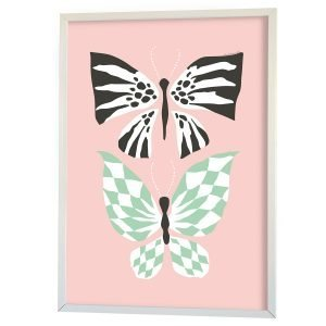Littlephant Butterfly Family Graphic Print Printti Vaaleanpunainen 50x70 Cm