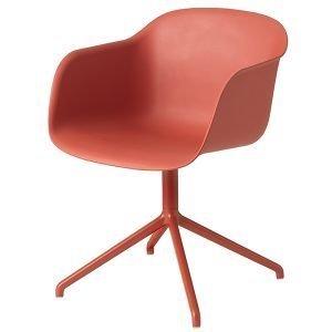 Muuto Fiber Tuoli Käsinojilla Pyörivä Dusty Red