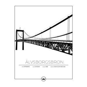 Sverigemotiv Älvsborgsbron Göteborg Poster Juliste 40x50 Cm
