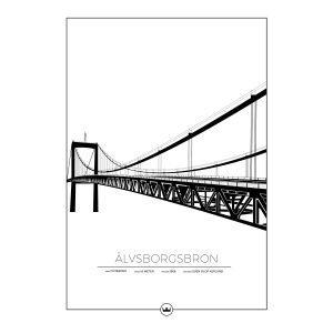 Sverigemotiv Älvsborgsbron Göteborg Poster Juliste 50x70 Cm