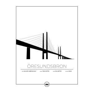 Sverigemotiv Öresundsbron Malmö / Köpenhamn Poster Juliste 40x50 Cm