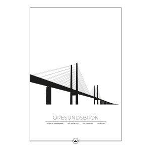 Sverigemotiv Öresundsbron Malmö / Köpenhamn Poster Juliste 50x70 Cm