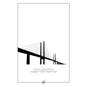 Sverigemotiv Öresundsbron Malmö / Köpenhamn Poster Juliste 61x91 Cm