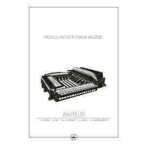 Sverigemotiv Anfield Liverpool Poster Juliste 50x70 Cm