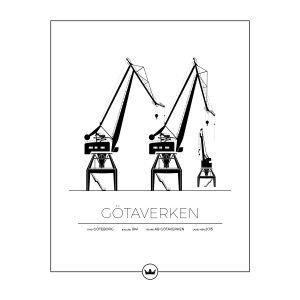 Sverigemotiv Götaverkens Kranar Göteborg Poster Juliste 40x50 Cm