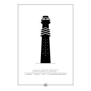 Sverigemotiv Kaknästornet Stockholm Poster Juliste 50x70 Cm