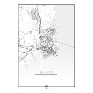 Sverigemotiv Kartposters Över Kalmar Juliste 50x70 Cm