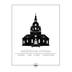 Sverigemotiv Katarina Kyrka Stockholm Poster Juliste 40x50 Cm