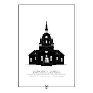 Sverigemotiv Katarina Kyrka Stockholm Poster Juliste 50x70 Cm