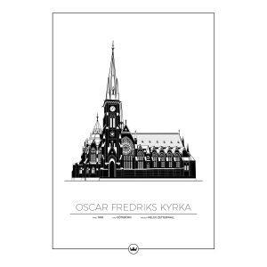 Sverigemotiv Oscar Fredriks Kyrka Göteborg Juliste 50x70 Cm