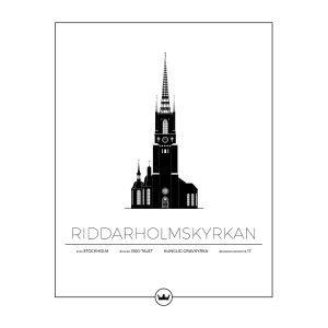 Sverigemotiv Riddarholmskyrkan Stockholm Poster Juliste 40x50 Cm