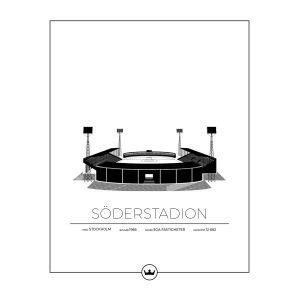Sverigemotiv Söderstadion Stockholm Juliste 40x50 Cm