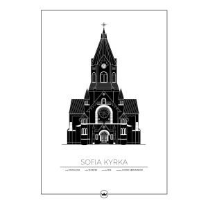 Sverigemotiv Sofia Kyrka Stockholm Poster Juliste 50x70 Cm