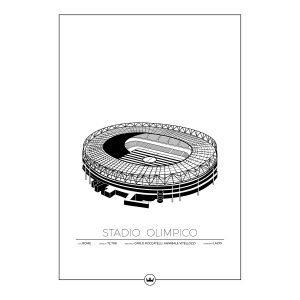 Sverigemotiv Stadio Olimpico Lazio Juliste 50x70 Cm