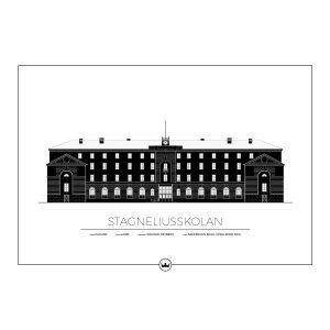 Sverigemotiv Stagneliusskolan Kalmar Poster Juliste 50x70 Cm
