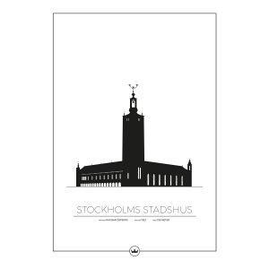 Sverigemotiv Stockholms Stadshus Poster Juliste 50x70 Cm