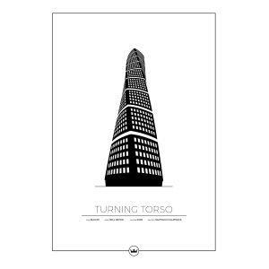 Sverigemotiv Turning Torso Malmö Poster Juliste 50x70 Cm