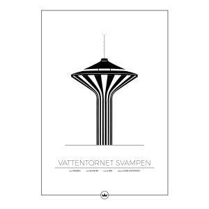 Sverigemotiv Vattentornet Svampen Örebro Poster Juliste 50x70 Cm